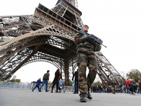 French soldier Eiffel Tower Paris France