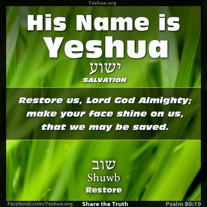 Psalm 80:19,Restore Us Yeshua