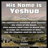 Obadiah 21 - yasha - saviors - saints